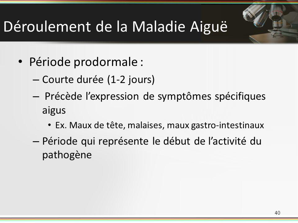 Déroulement de la Maladie Aiguë Période prodormale : – Courte durée (1-2 jours) – Précède lexpression de symptômes spécifiques aigus Ex. Maux de tête,