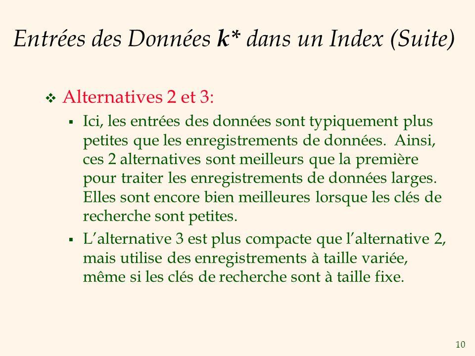 10 Entrées des Données k* dans un Index (Suite) Alternatives 2 et 3: Ici, les entrées des données sont typiquement plus petites que les enregistrements de données.