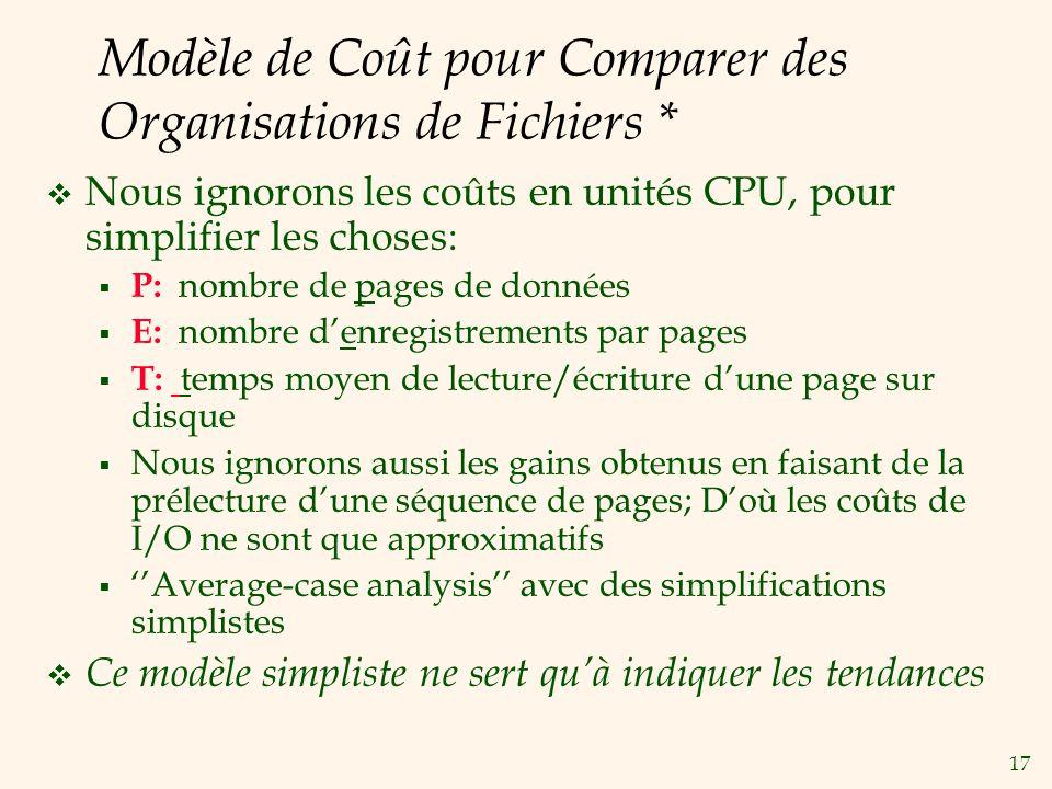 17 Modèle de Coût pour Comparer des Organisations de Fichiers * Nous ignorons les coûts en unités CPU, pour simplifier les choses: P: nombre de pages de données E: nombre denregistrements par pages T: temps moyen de lecture/écriture dune page sur disque Nous ignorons aussi les gains obtenus en faisant de la prélecture dune séquence de pages; Doù les coûts de I/O ne sont que approximatifs Average-case analysis avec des simplifications simplistes Ce modèle simpliste ne sert quà indiquer les tendances