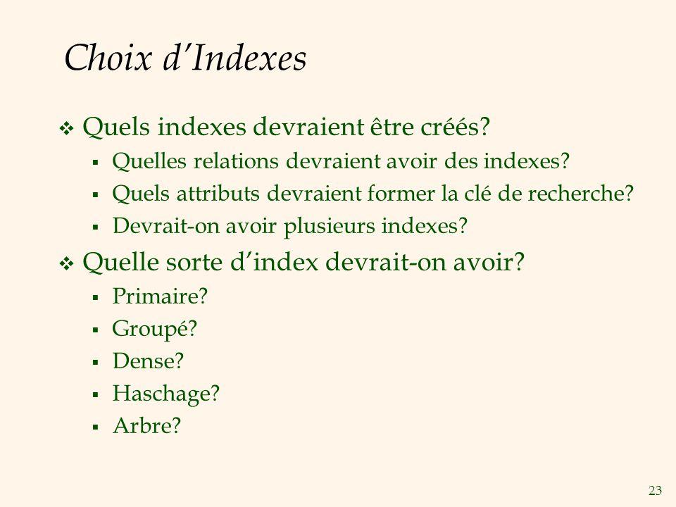 23 Choix dIndexes Quels indexes devraient être créés? Quelles relations devraient avoir des indexes? Quels attributs devraient former la clé de recher