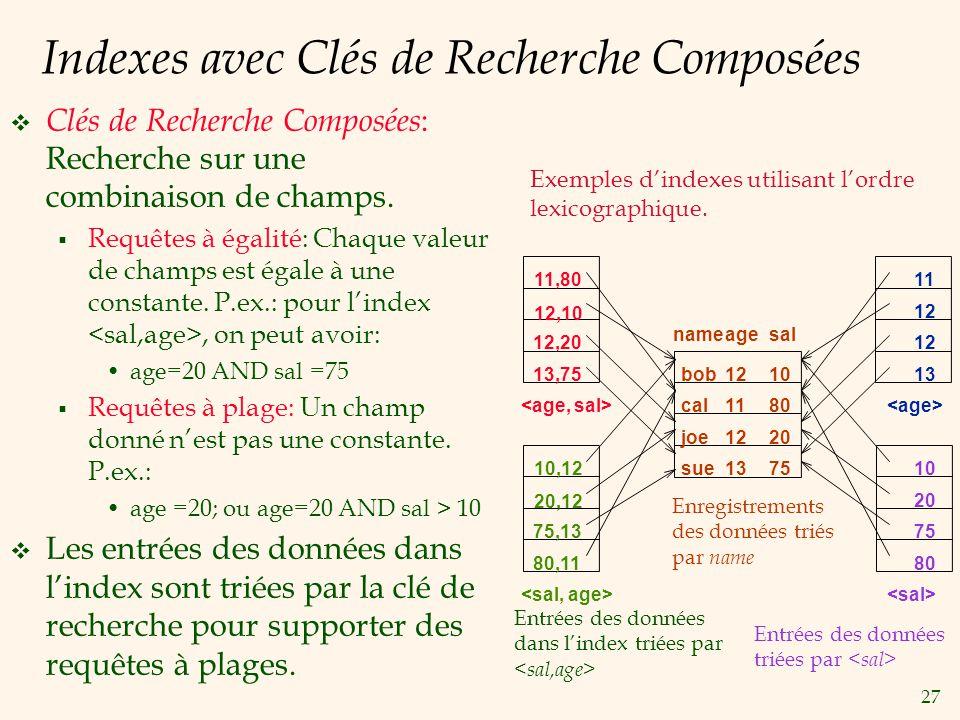 27 Indexes avec Clés de Recherche Composées Clés de Recherche Composées : Recherche sur une combinaison de champs. Requêtes à égalité: Chaque valeur d