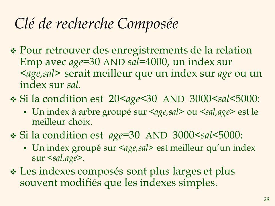 28 Clé de recherche Composée Pour retrouver des enregistrements de la relation Emp avec age =30 AND sal =4000, un index sur serait meilleur que un index sur age ou un index sur sal.