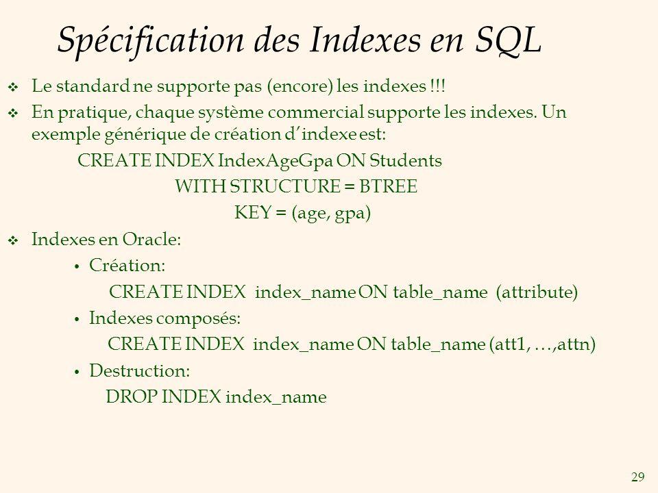29 Spécification des Indexes en SQL Le standard ne supporte pas (encore) les indexes !!! En pratique, chaque système commercial supporte les indexes.