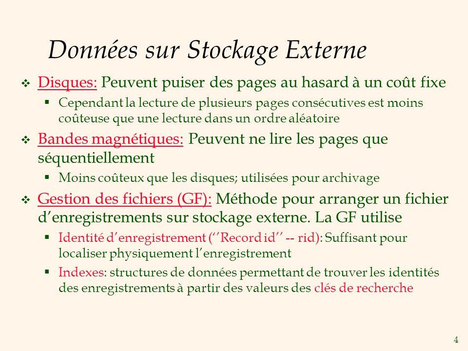 4 Données sur Stockage Externe Disques: Peuvent puiser des pages au hasard à un coût fixe Cependant la lecture de plusieurs pages consécutives est moi