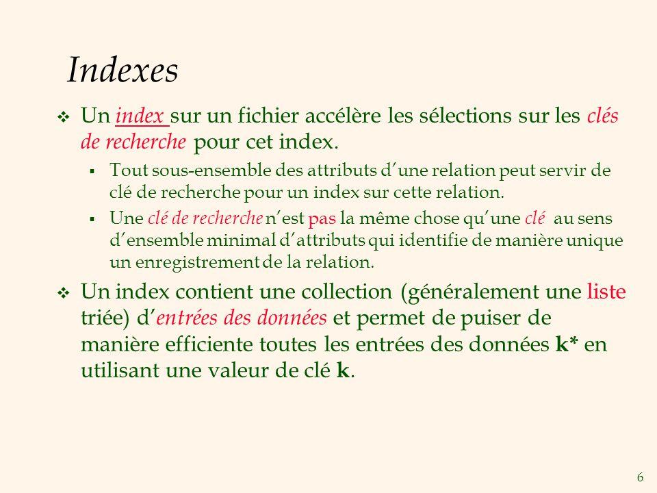 6 Indexes Un index sur un fichier accélère les sélections sur les clés de recherche pour cet index. Tout sous-ensemble des attributs dune relation peu