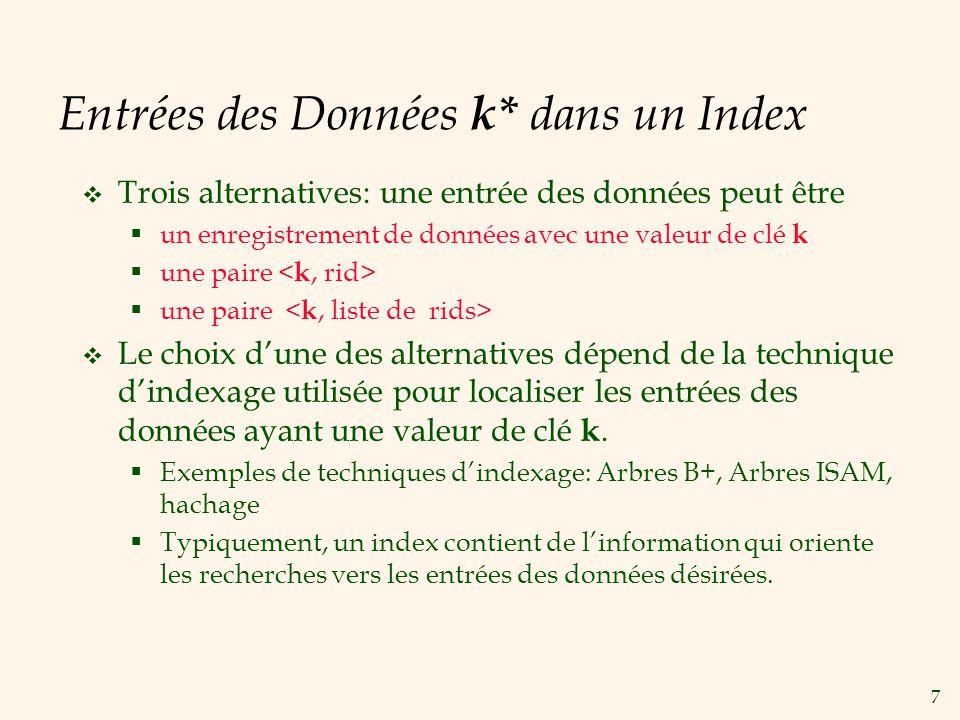 7 Entrées des Données k* dans un Index Trois alternatives: une entrée des données peut être un enregistrement de données avec une valeur de clé k une paire Le choix dune des alternatives dépend de la technique dindexage utilisée pour localiser les entrées des données ayant une valeur de clé k.