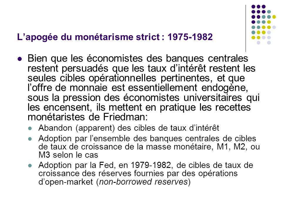 Lapogée du monétarisme strict : 1975-1982 Bien que les économistes des banques centrales restent persuadés que les taux dintérêt restent les seules ci