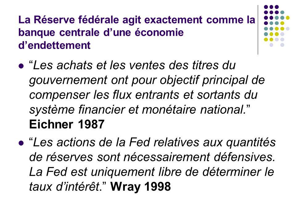La Réserve fédérale agit exactement comme la banque centrale dune économie dendettement Les achats et les ventes des titres du gouvernement ont pour o