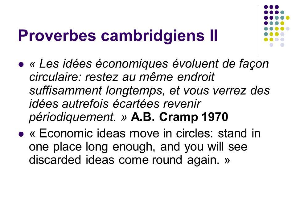Proverbes cambridgiens II « Les idées économiques évoluent de façon circulaire: restez au même endroit suffisamment longtemps, et vous verrez des idée