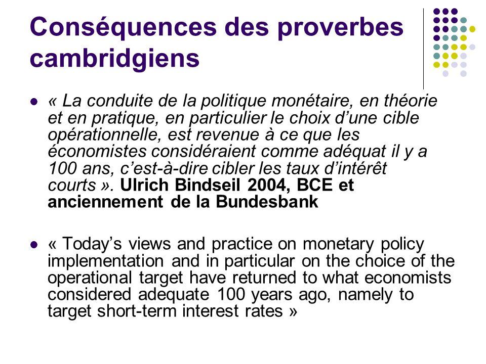 Conséquences des proverbes cambridgiens « La conduite de la politique monétaire, en théorie et en pratique, en particulier le choix dune cible opérati