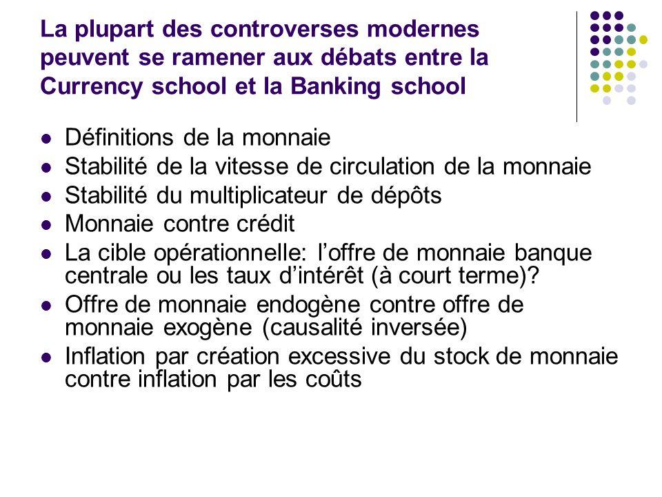 La plupart des controverses modernes peuvent se ramener aux débats entre la Currency school et la Banking school Définitions de la monnaie Stabilité d