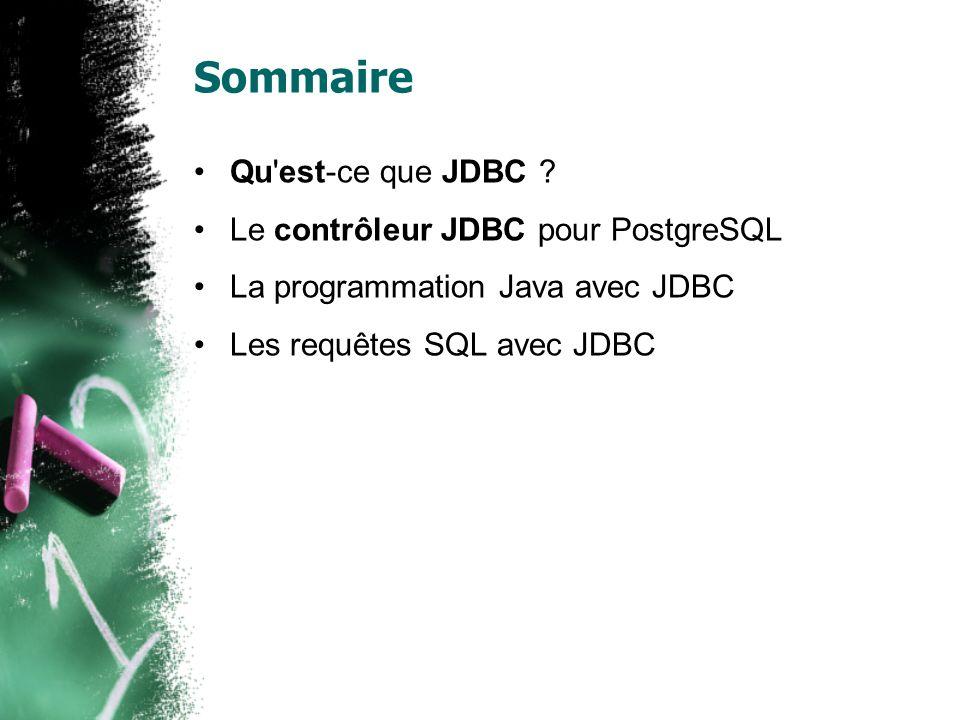 Sommaire Qu'est-ce que JDBC ? Le contrôleur JDBC pour PostgreSQL La programmation Java avec JDBC Les requêtes SQL avec JDBC