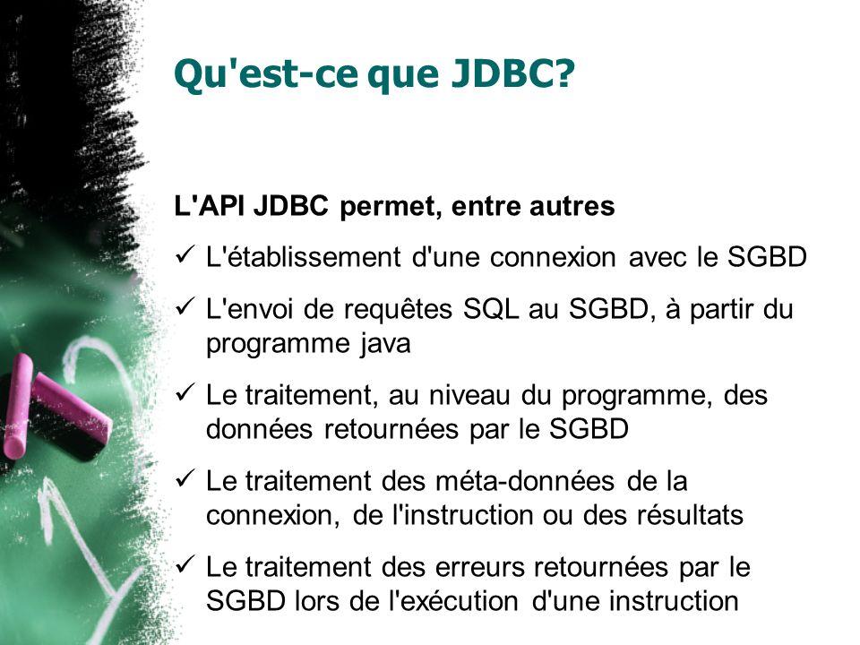 Qu'est-ce que JDBC? L'API JDBC permet, entre autres L'établissement d'une connexion avec le SGBD L'envoi de requêtes SQL au SGBD, à partir du programm