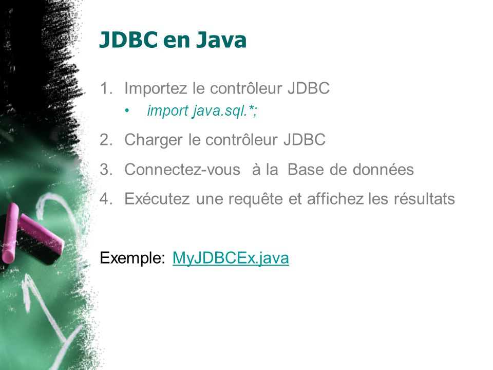 JDBC en Java 1.Importez le contrôleur JDBC import java.sql.*; 2.Charger le contrôleur JDBC 3.Connectez-vous à la Base de données 4.Exécutez une requête et affichez les résultats Exemple: MyJDBCEx.javaMyJDBCEx.java