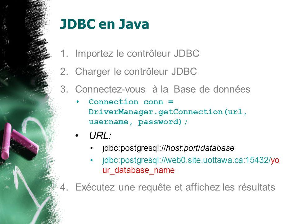 JDBC en Java 1.Importez le contrôleur JDBC 2.Charger le contrôleur JDBC 3.Connectez-vous à la Base de données 4.Exécutez une requête et affichez les résultats Statement st = conn.createStatement(); ResultSet rs = st.executeQuery( SELECT * FROM artists); while (rs.next()) { …… } rs.close(); st.close();