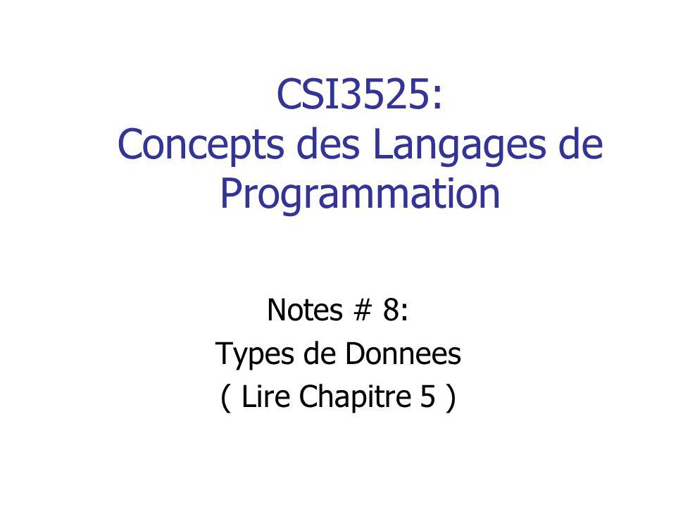 12 Types de Donnees Semi-Primitifs: Les chaines de caracteres IV La longueur permise des chaines est un probleme de conception du langage: en Pascal, Ada et Fortran, les chaines sont de taille fixe.