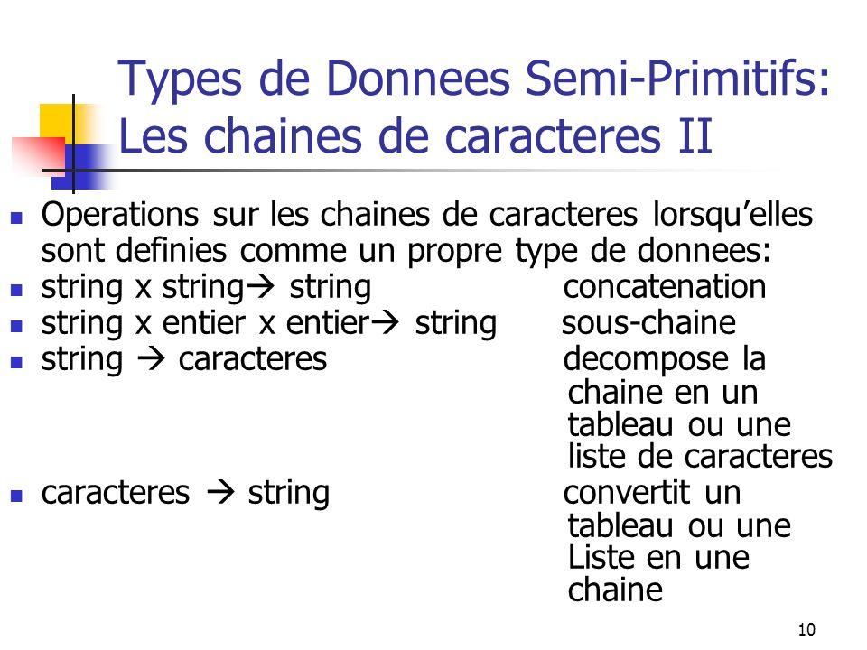 10 Types de Donnees Semi-Primitifs: Les chaines de caracteres II Operations sur les chaines de caracteres lorsquelles sont definies comme un propre ty