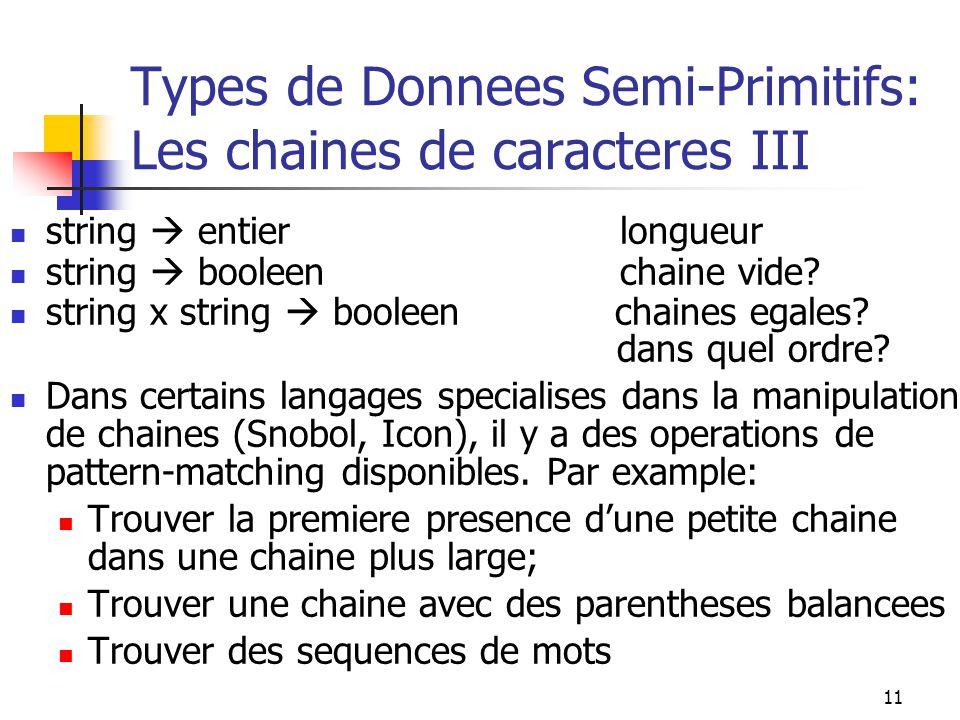 11 Types de Donnees Semi-Primitifs: Les chaines de caracteres III string entier longueur string booleen chaine vide? string x string booleen chaines e