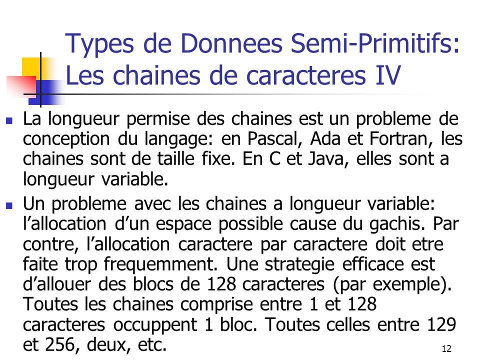 12 Types de Donnees Semi-Primitifs: Les chaines de caracteres IV La longueur permise des chaines est un probleme de conception du langage: en Pascal,