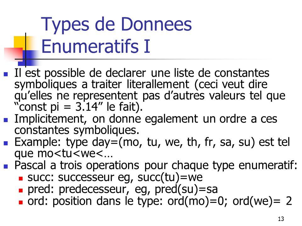 13 Types de Donnees Enumeratifs I Il est possible de declarer une liste de constantes symboliques a traiter literallement (ceci veut dire quelles ne r