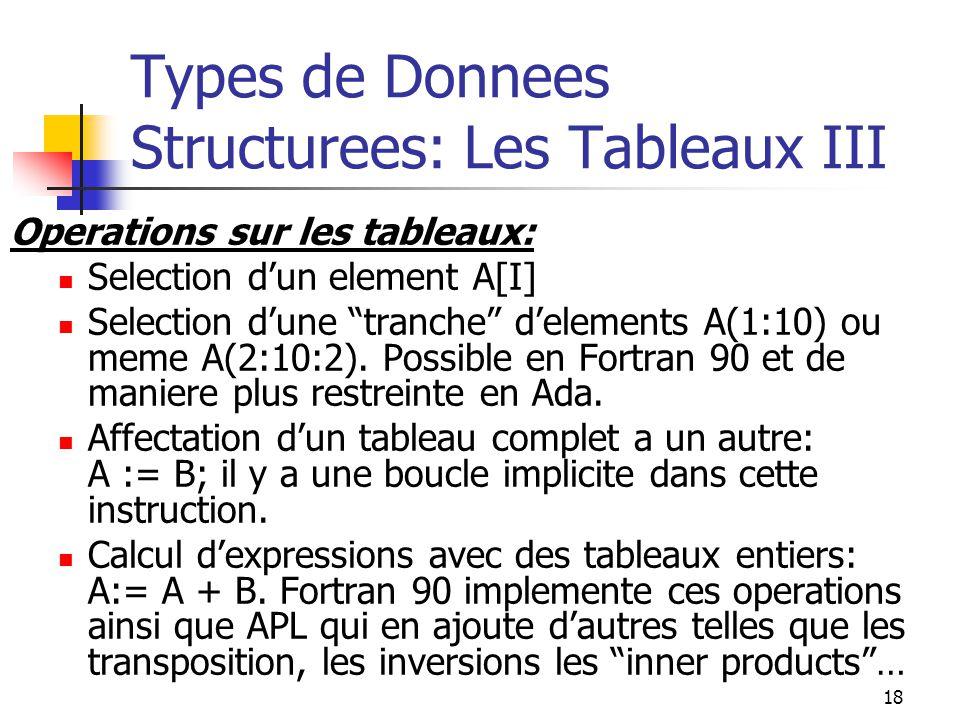 18 Types de Donnees Structurees: Les Tableaux III Operations sur les tableaux: Selection dun element A[I] Selection dune tranche delements A(1:10) ou