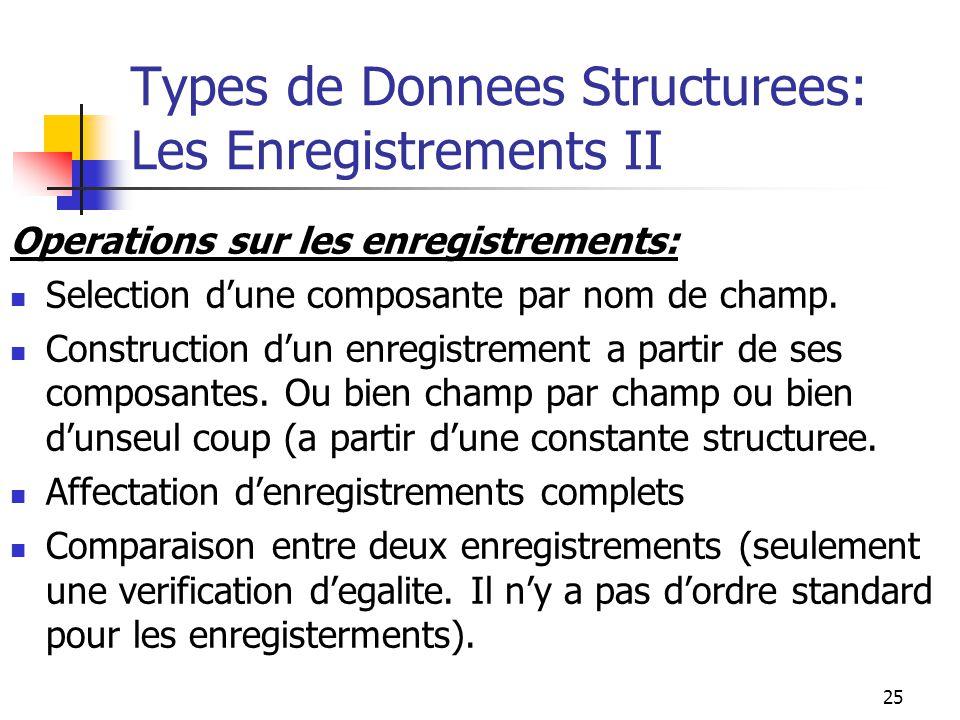 25 Types de Donnees Structurees: Les Enregistrements II Operations sur les enregistrements: Selection dune composante par nom de champ. Construction d