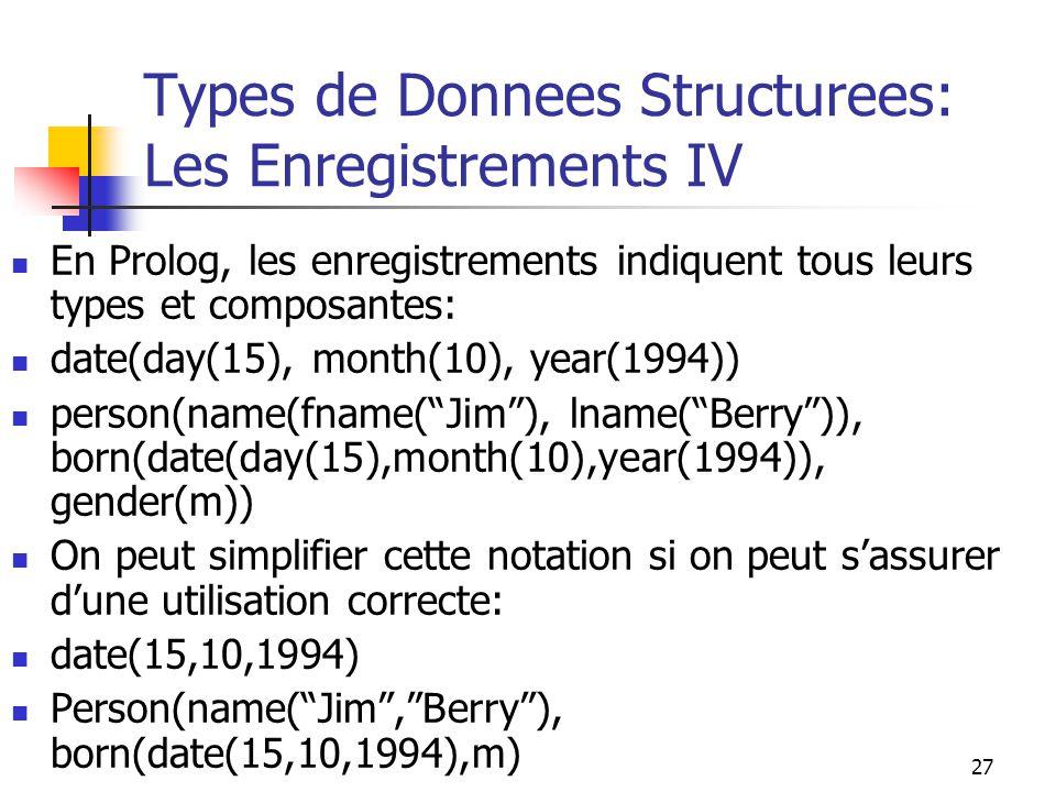 27 Types de Donnees Structurees: Les Enregistrements IV En Prolog, les enregistrements indiquent tous leurs types et composantes: date(day(15), month(