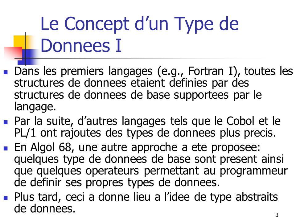 3 Le Concept dun Type de Donnees I Dans les premiers langages (e.g., Fortran I), toutes les structures de donnees etaient definies par des structures