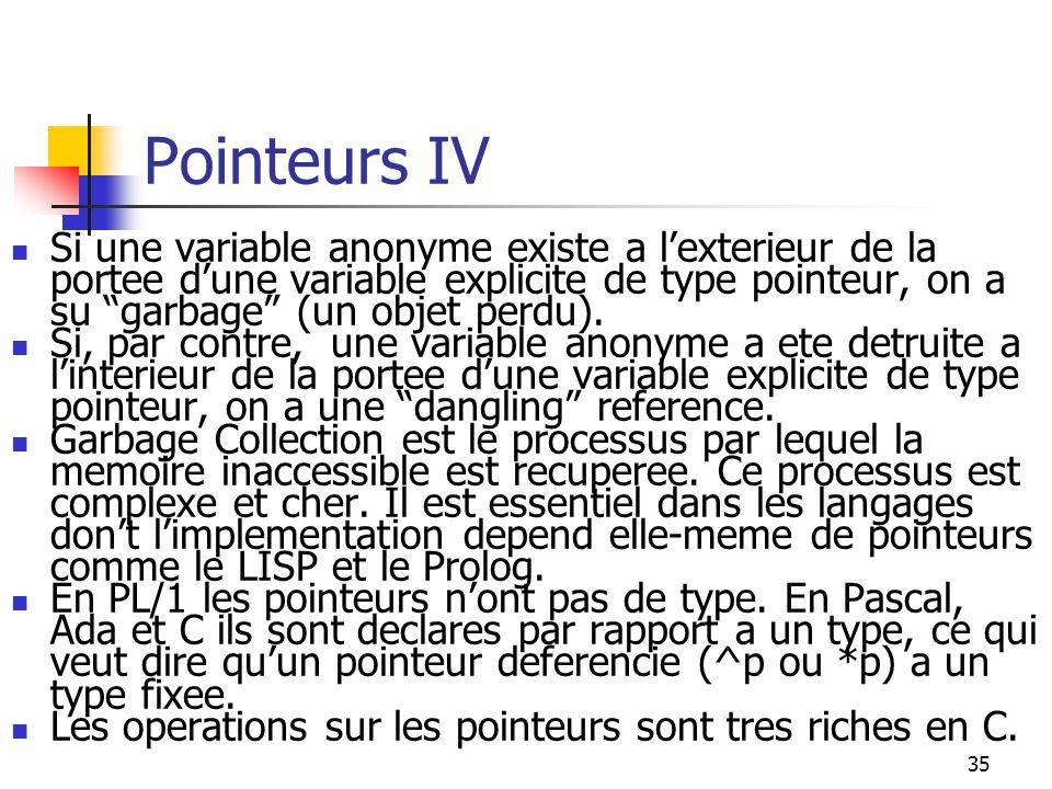 35 Pointeurs IV Si une variable anonyme existe a lexterieur de la portee dune variable explicite de type pointeur, on a su garbage (un objet perdu). S