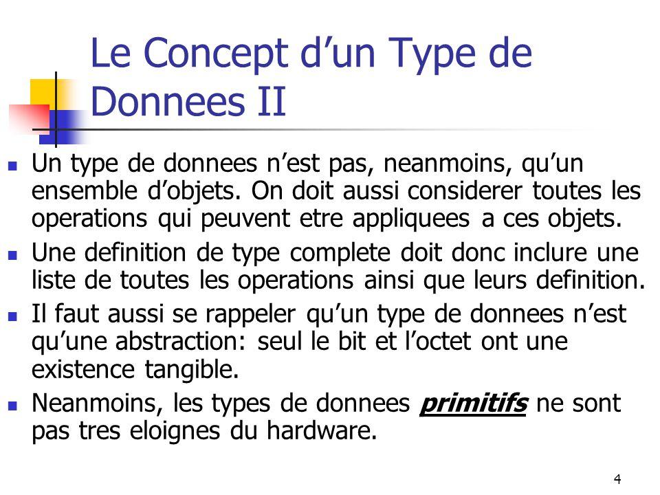 4 Le Concept dun Type de Donnees II Un type de donnees nest pas, neanmoins, quun ensemble dobjets. On doit aussi considerer toutes les operations qui