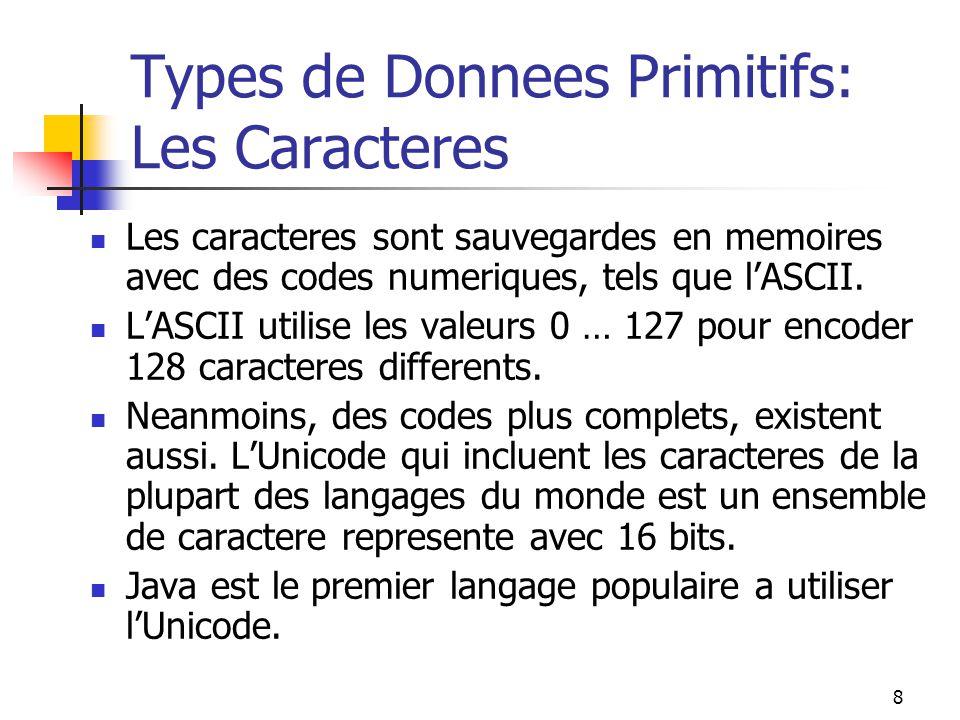8 Types de Donnees Primitifs: Les Caracteres Les caracteres sont sauvegardes en memoires avec des codes numeriques, tels que lASCII. LASCII utilise le