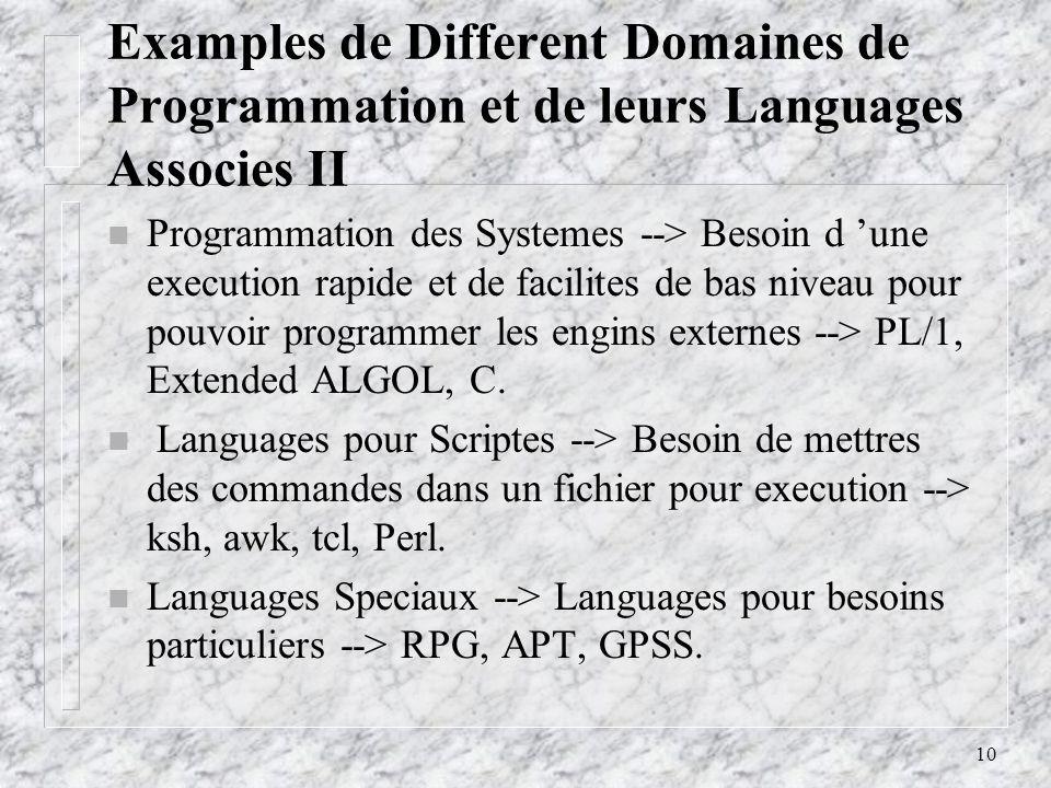 10 Examples de Different Domaines de Programmation et de leurs Languages Associes II n Programmation des Systemes --> Besoin d une execution rapide et