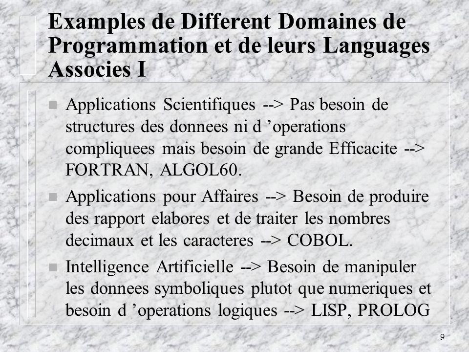 10 Examples de Different Domaines de Programmation et de leurs Languages Associes II n Programmation des Systemes --> Besoin d une execution rapide et de facilites de bas niveau pour pouvoir programmer les engins externes --> PL/1, Extended ALGOL, C.
