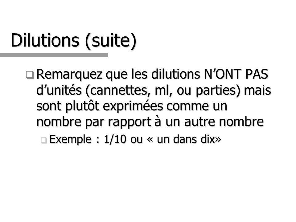 Dilutions (suite) Remarquez que les dilutions NONT PAS dunités (cannettes, ml, ou parties) mais sont plutôt exprimées comme un nombre par rapport à un