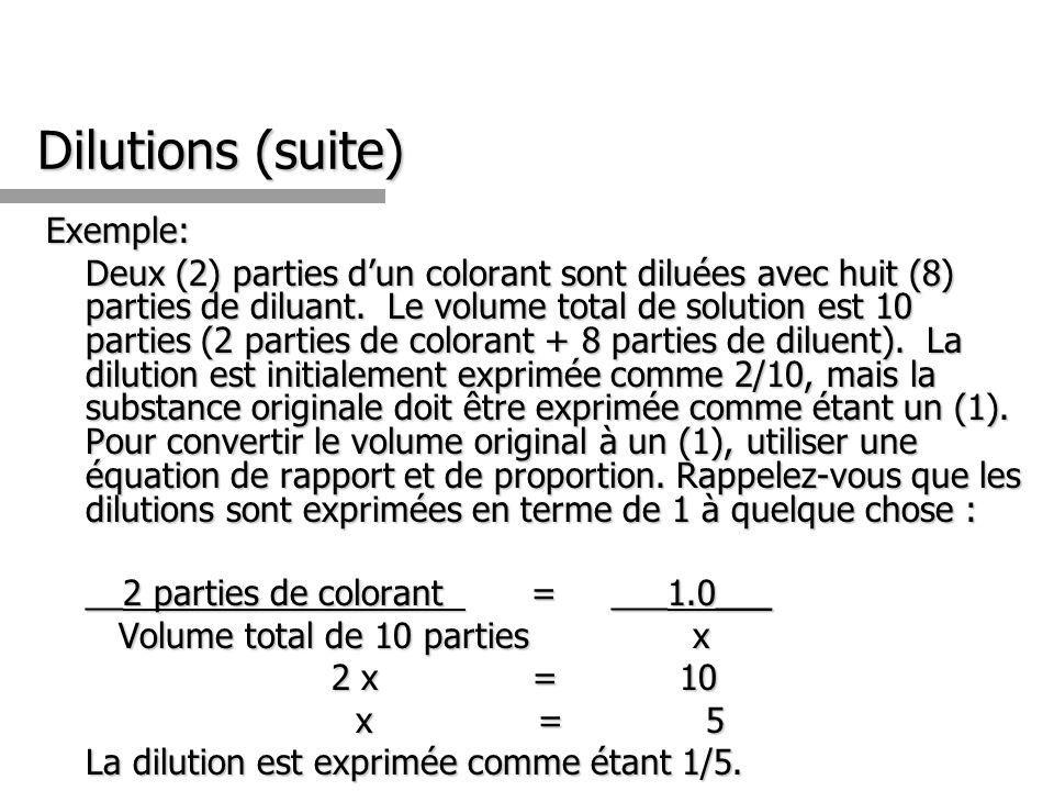 Dilutions (suite) Exemple: Deux (2) parties dun colorant sont diluées avec huit (8) parties de diluant. Le volume total de solution est 10 parties (2