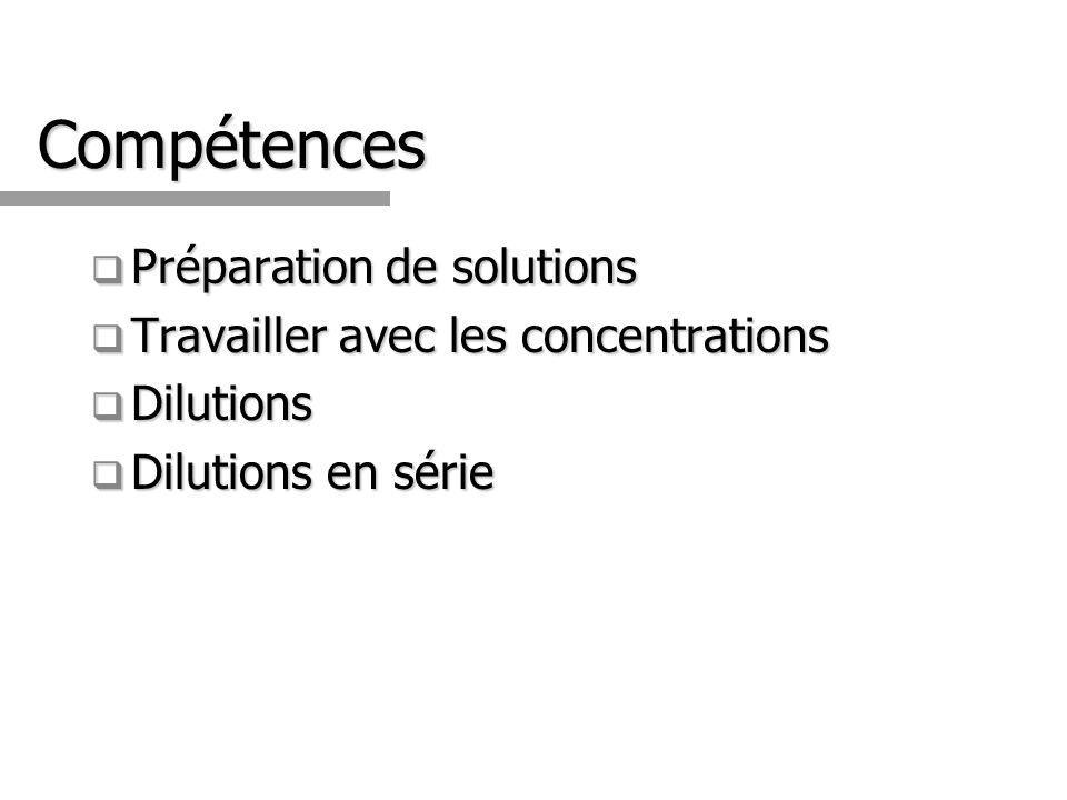 Compétences Préparation de solutions Préparation de solutions Travailler avec les concentrations Travailler avec les concentrations Dilutions Dilution