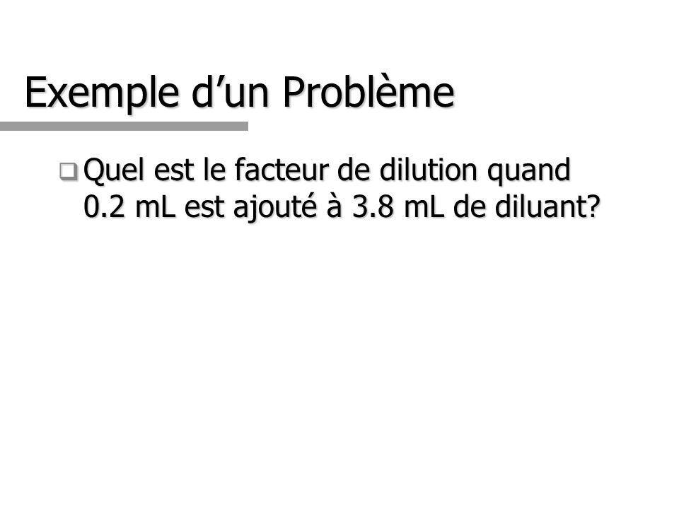 Exemple dun Problème Quel est le facteur de dilution quand 0.2 mL est ajouté à 3.8 mL de diluant? Quel est le facteur de dilution quand 0.2 mL est ajo