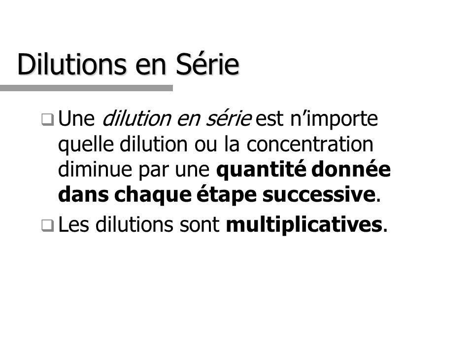 Dilutions en Série Une dilution en série est nimporte quelle dilution ou la concentration diminue par une quantité donnée dans chaque étape successive