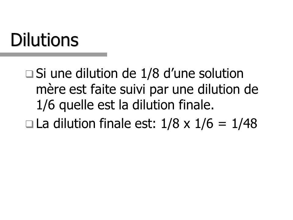 Dilutions Si une dilution de 1/8 dune solution mère est faite suivi par une dilution de 1/6 quelle est la dilution finale. La dilution finale est: 1/8