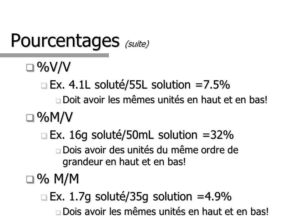 Pourcentages (suite) %V/V %V/V Ex. 4.1L soluté/55L solution =7.5% Ex. 4.1L soluté/55L solution =7.5% Doit avoir les mêmes unités en haut et en bas! Do