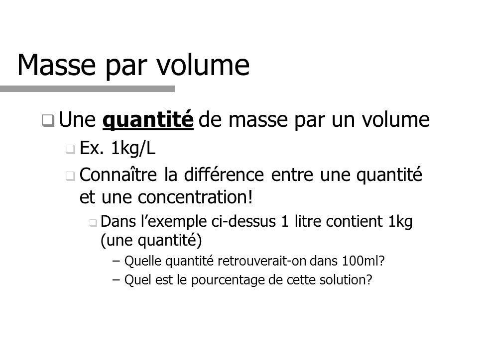 Masse par volume Une quantité de masse par un volume Ex. 1kg/L Connaître la différence entre une quantité et une concentration! Dans lexemple ci-dessu