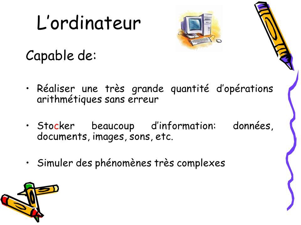 Lordinateur Capable de: Réaliser une très grande quantité dopérations arithmétiques sans erreur Stocker beaucoup dinformation: données, documents, images, sons, etc.