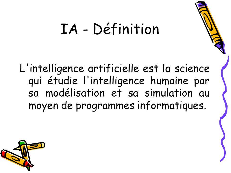 IA - Définition L intelligence artificielle est la science qui étudie l intelligence humaine par sa modélisation et sa simulation au moyen de programmes informatiques.