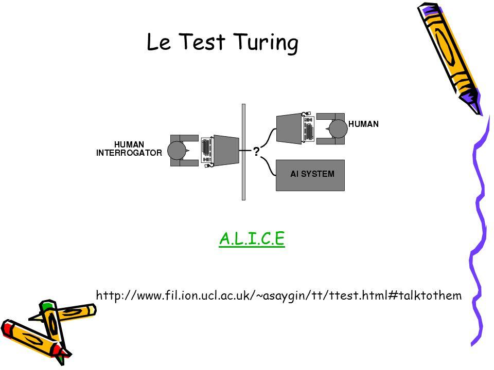 Le Test Turing A.L.I.C.E http://www.fil.ion.ucl.ac.uk/~asaygin/tt/ttest.html#talktothem