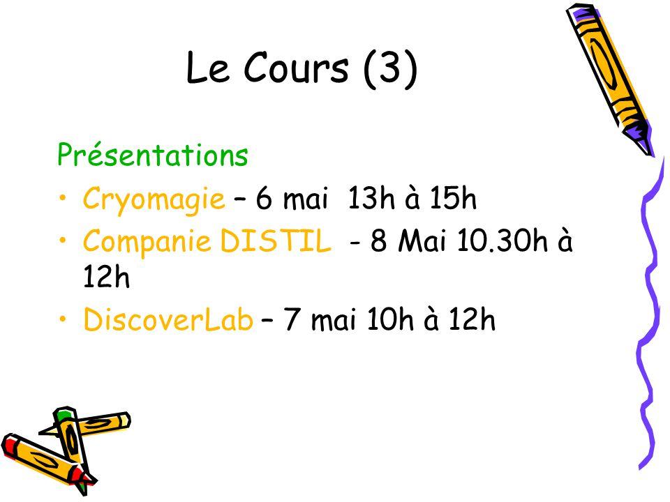 Le Cours (3) Présentations Cryomagie – 6 mai 13h à 15h Companie DISTIL - 8 Mai 10.30h à 12h DiscoverLab – 7 mai 10h à 12h