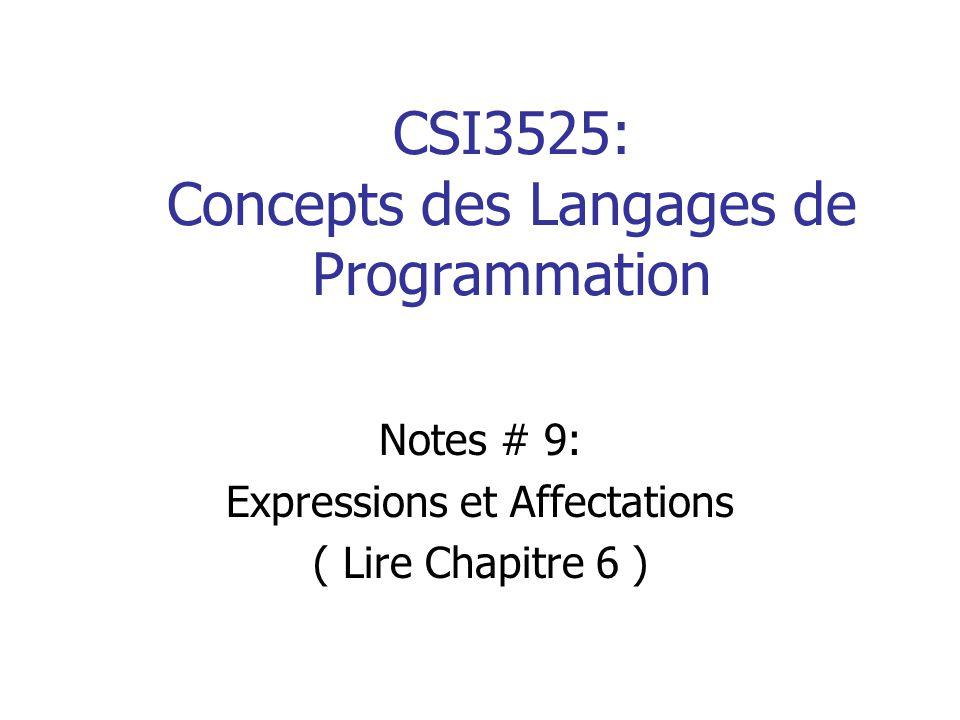 CSI3525: Concepts des Langages de Programmation Notes # 9: Expressions et Affectations ( Lire Chapitre 6 )