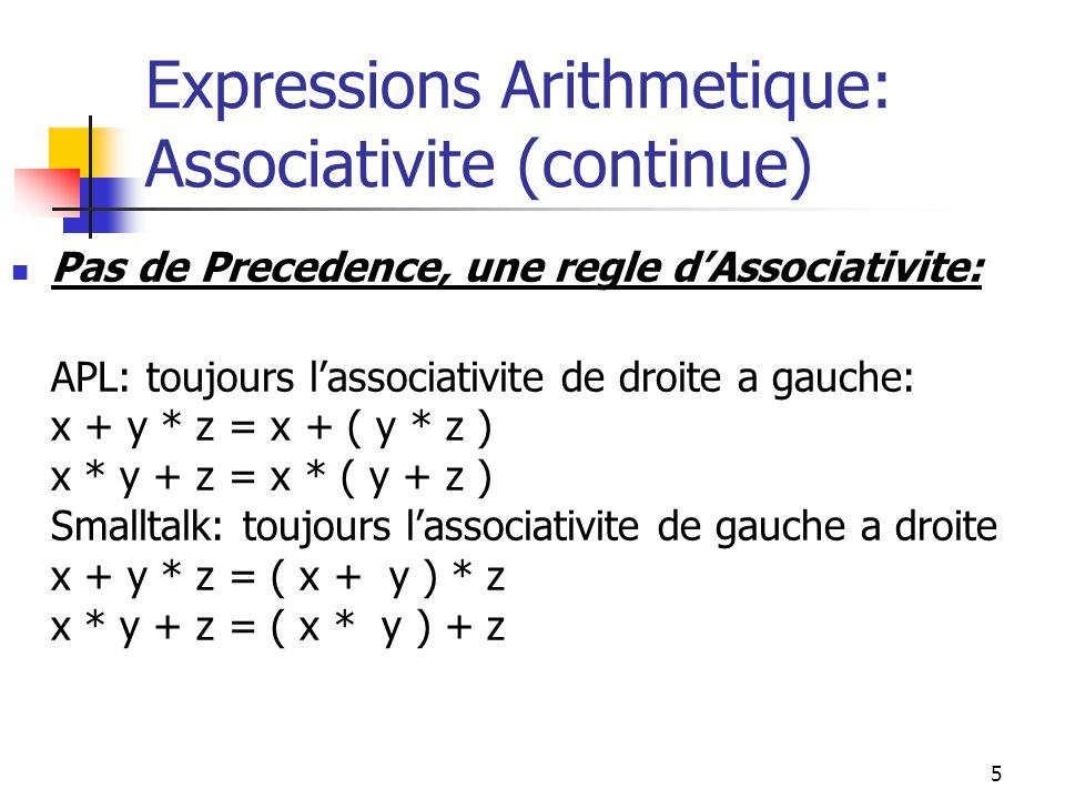 6 Expressions Arithmetique: Evaluation dArguments et Effets Secondaires Une fonction apparaissant dans une expression peut avoir des effets secondaires (un changement dans un objet non-local–ce qui veut dire que cet objet netait pas mentionne dans lexpression) Example: function twice (var x: real): real; begin x := x + x; twice := x end; Si on fait lappel: z := twice(y); la valeur de y est changee secretement.