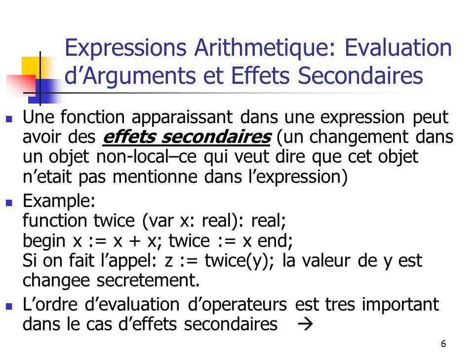 7 Expressions Arithmetique: Evaluation dArguments et Effets Secondaires (continue) Dans le programme suivant: y := 10; z := y + twice ( y ); Si le premier operande est evalue le premier, z aura la valeur30.