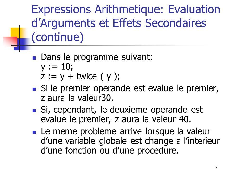 8 Expressions Arithmetique: Evaluation dArguments et Effets Secondaires (continue) Solutions pour ce probleme: Interdiction deffets secondaires de fonctions: 1) Pas une bonne idee pour les langages qui nont pas de procedures, mais ont seulement des fonctions (C,C++).