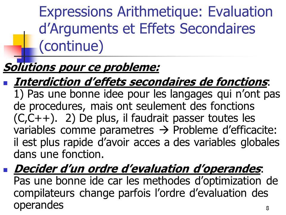 8 Expressions Arithmetique: Evaluation dArguments et Effets Secondaires (continue) Solutions pour ce probleme: Interdiction deffets secondaires de fon